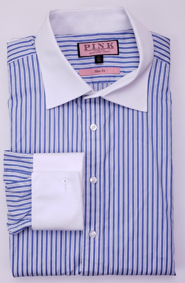88ac101e757d56 Thomas Pink Blue White Striped 17 43 Slim Collar French Cuff Shirt Image 0  ...