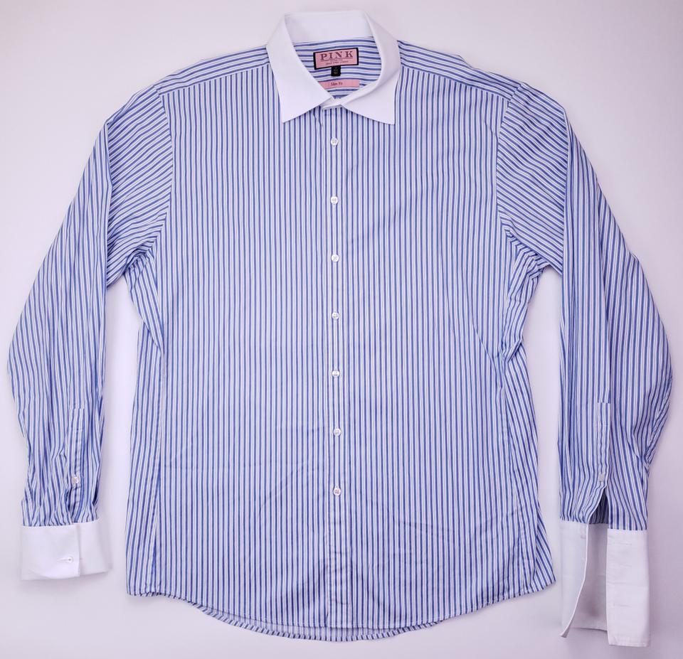 d663d373305922 Thomas Pink Blue White Striped 17 43 Slim Collar French Cuff Shirt Image  11. 123456789101112