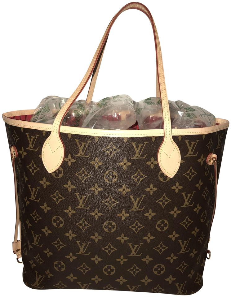 b55b6e5b2f67 Louis Vuitton Neverfull Monogram with Red Cherry Inside Brown Canvas ...
