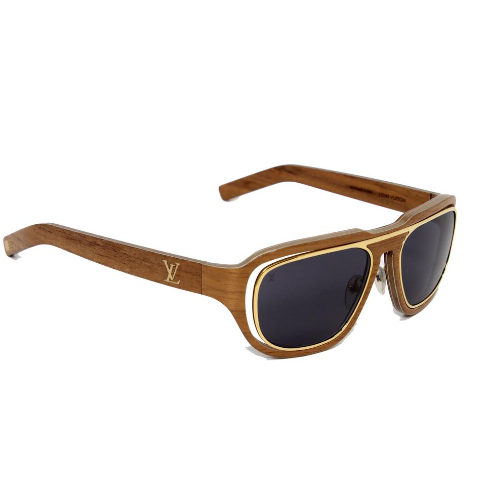 10059448bd61 Louis Vuitton LV Gold Harold Z0469U M0191 Unisex Wooden Frame Made in Italy  Image 0 ...