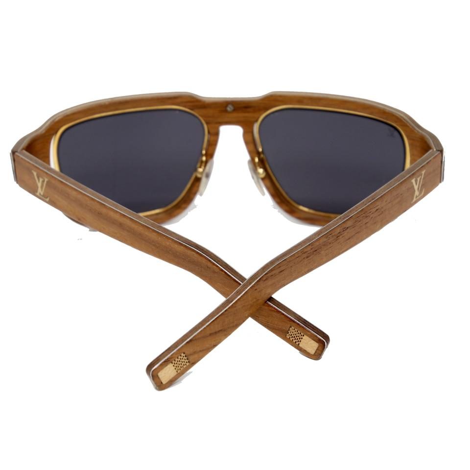 59715a3e7d55 Louis Vuitton Brown Lv Gold Harold Z0469u M0191 Unisex Wooden Frame Made In  Italy Sunglasses - Tradesy