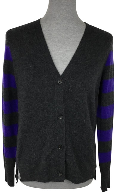 Item - Grey Purple Cashmere Striped Sweater Cardigan Size 6 (S)