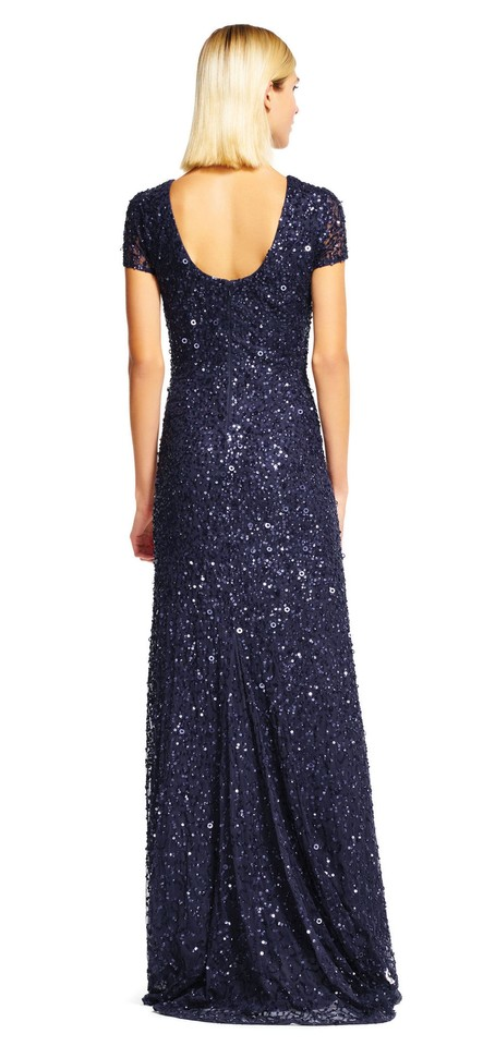 902a016f Adrianna Papell Navy Short Sleeve Sequin Mesh Gown Formal Dress Size Petite  6 (S) - Tradesy