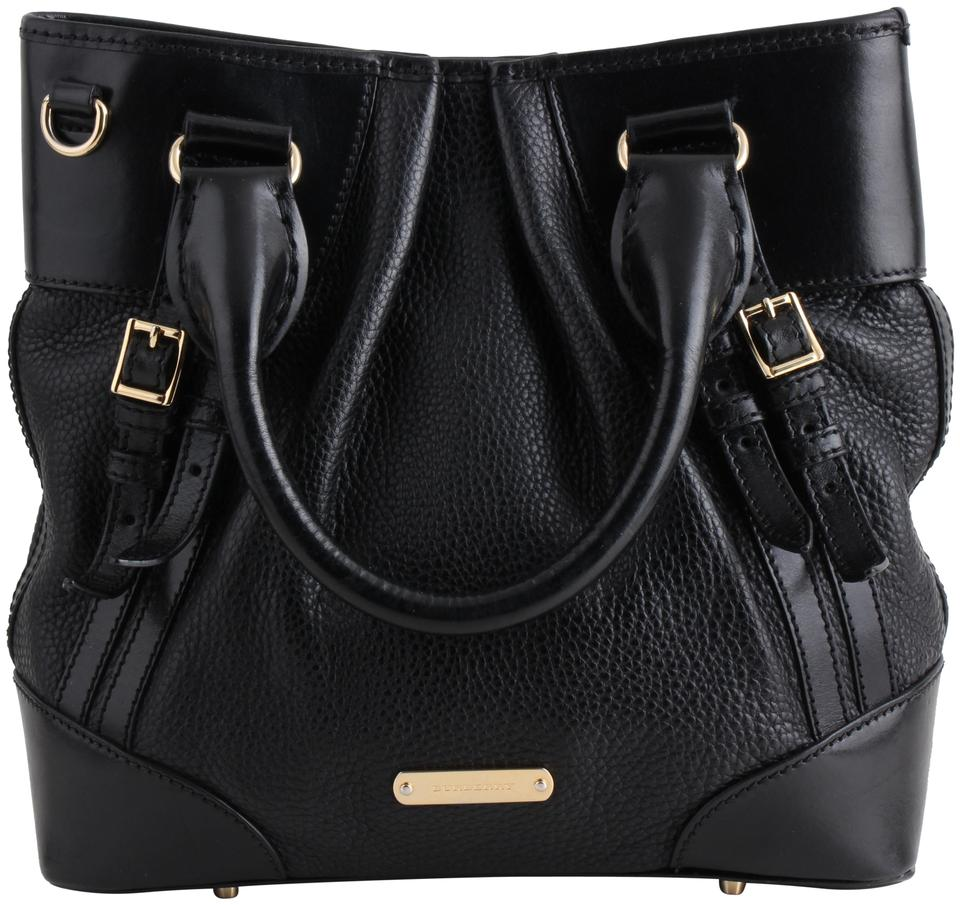2871214d5b82 Burberry Pebbled Bridle Whip Stitch Black Leather Tote - Tradesy