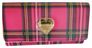Betsey Johnson PINK PLAID FLAP OVER WALLET