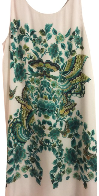 Item - Ivory and Green Print with A Pleat In The Back Of The Mid-length Cocktail Dress Size 12 (L)