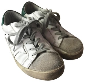 Golden Goose Deluxe Brand Out Of Stock New Distressed Tags White with Green/Silver Flats