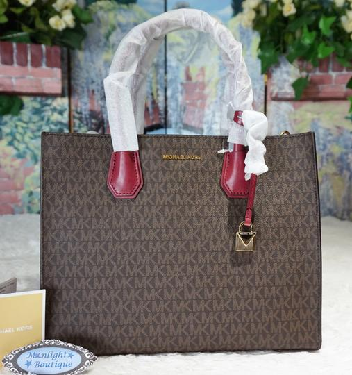 MICHAEL Michael Kors Tote in Brown & Mulberry Red Image 2