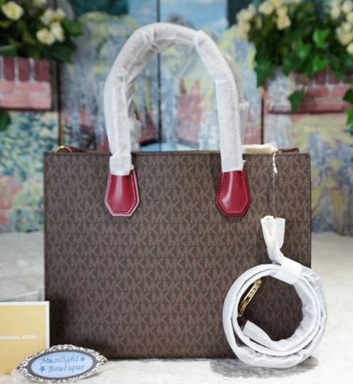 MICHAEL Michael Kors Tote in Brown & Mulberry Red Image 4