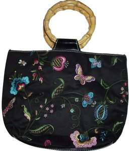 Bueno Collection Embroidered Butterfly Gypsy Wood Crossbody Satchel in Multi-Color