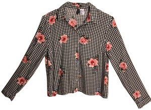 Divided by H&M Button Down Shirt Black and white with pink floral print.