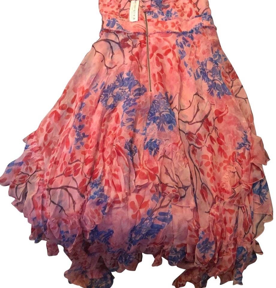 65fe5265e2 Alice + Olivia Pink Floral By Stacey Bendet. Galina Cold Shoulder  Handkerchief Casual Maxi Dress