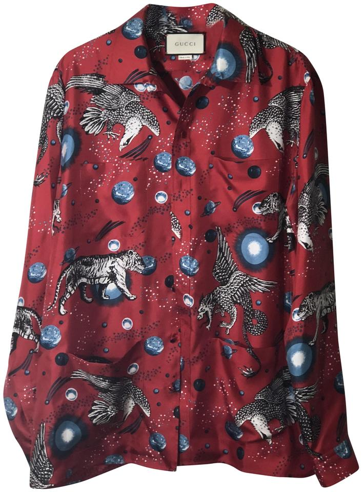 a2ce1490838c7 Gucci Red Black White Space Animals Print Silk Twill Shirt Button ...