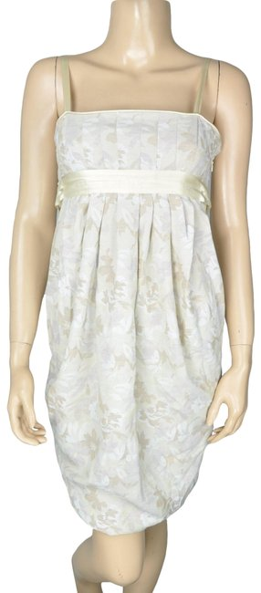 Item - Beige Bcbg Floral Draped Empire Sleeveless Mid-length Cocktail Dress Size 0 (XS)