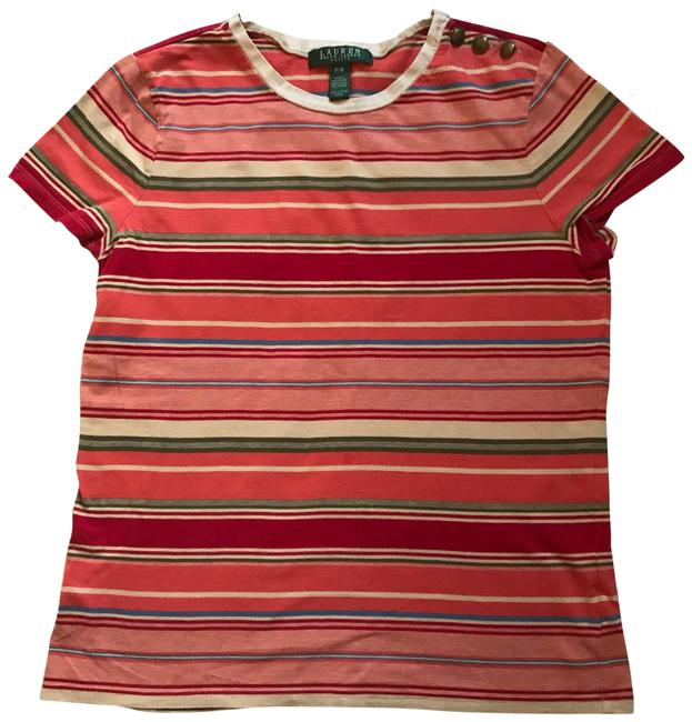 Item - Orange Blue and Green Stripes Short Sleeve Tee Blouse Size Petite 8 (M)