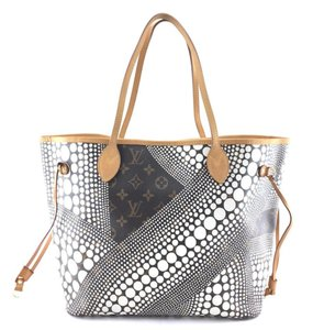 Louis Vuitton Race Rayures Polka Dot Catogram Damier Azur Tote in White