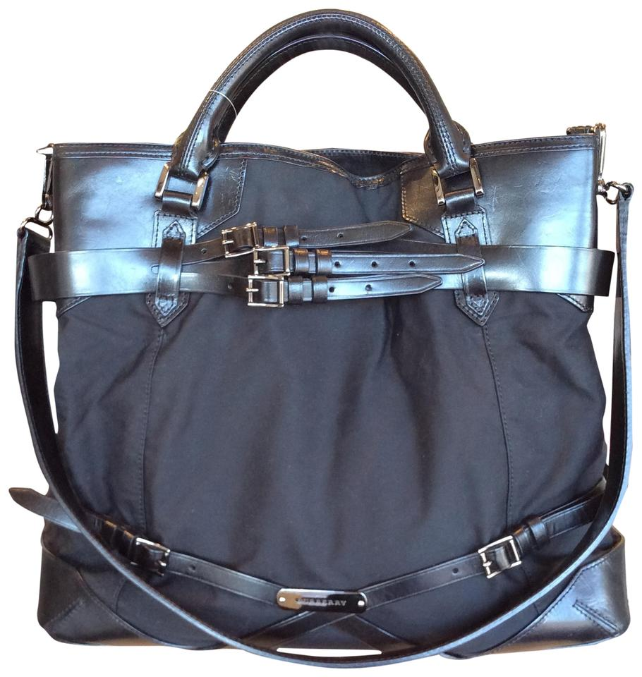 Burberry Classic Strap Tote Black Leather Canvas Messenger Bag - Tradesy 416bbed583a