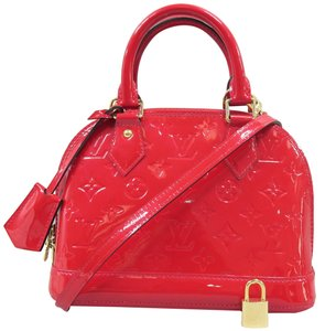 Louis Vuitton Lv Alma Bb Vernis Satchel in red