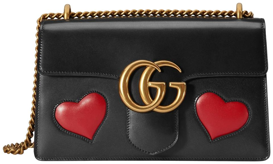 9cd68aa3197 Gucci Marmont Gg with Embedded Red Hearts Black Leather Shoulder Bag ...