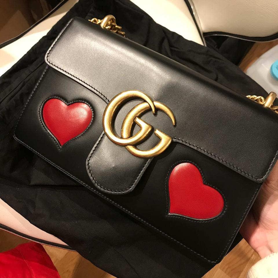 fba0801071a Gucci Marmont Gg with Embedded Red Hearts Black Leather Shoulder Bag -  Tradesy