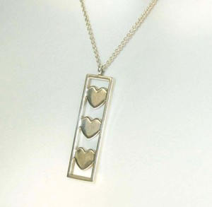 Tiffany & Co. Triple Hearts Bar Pendant 925 Sterling Necklace