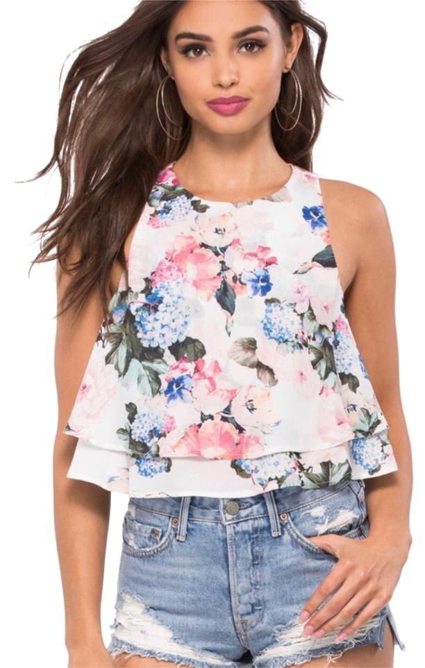 45df3bedf30eb Show Me Your Mumu All Over Floral Double Layer Crop Tank Top Cami. Size  12  ...