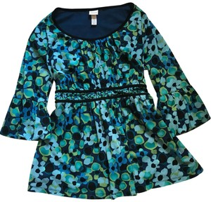 Venezia by Lane Bryant Top dark blue & light green