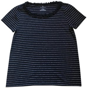 Talbots Top navy blue & white stripes