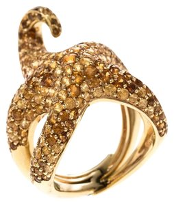 Boucheron Octopussy Pave Set Sapphire & 18k Yellow Gold Cocktail Ring