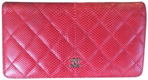 Chanel Cc Logo Lizard red bifold Wallet