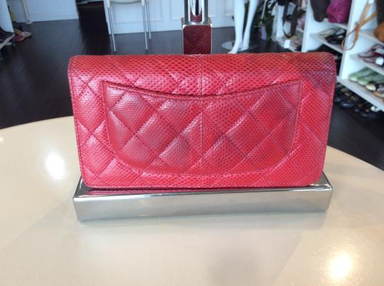 Chanel Cc Logo Lizard red bifold Wallet Image 10