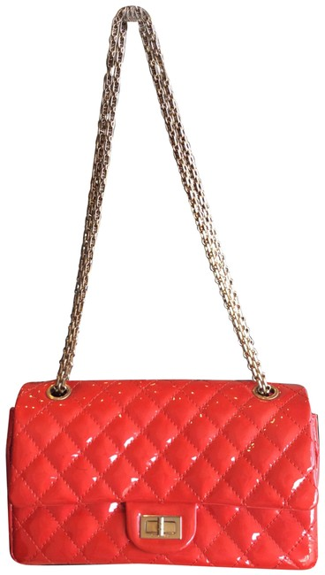 Item - 2.55 Reissue Two Part Purse Tomato Red Patent Leather Shoulder Bag