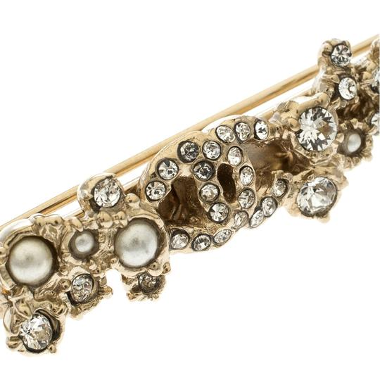 Chanel Crystal Faux Pearl Gold Tone Hair Pin