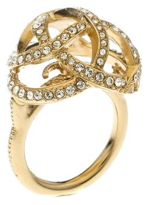 Chanel CC Criss Cross Crystal Gold Tone Dome Cocktail Ring Size 51