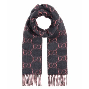 Gucci Logo alpaca and wool fringe scarf
