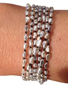 Other south sea seed pearl bracelet hand knotted black silk