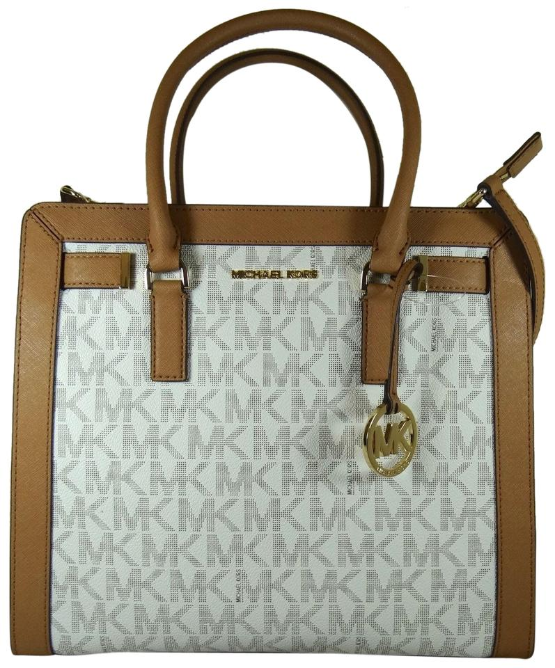 39a83d08d0d3 Michael Kors Dillon Large North South Signature Satchel Vanilla ...