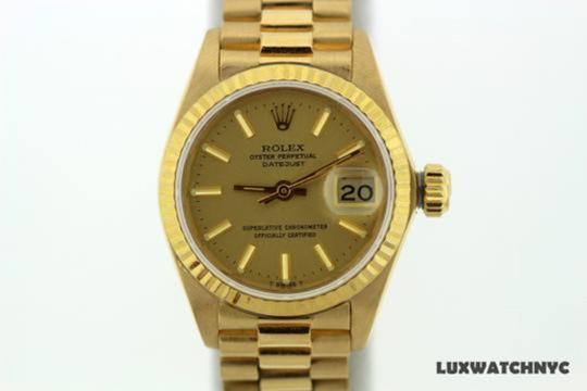 Rolex Ladies Presidential Datejust 18k Gold Watch Image 1