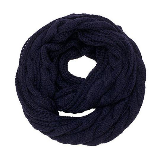 Boutique Chunky Solid Color Cable Knitted Infinity Scarf Image 3