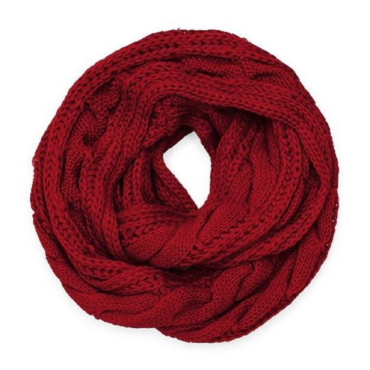 Boutique Chunky Solid Color Cable Knitted Infinity Scarf Image 2
