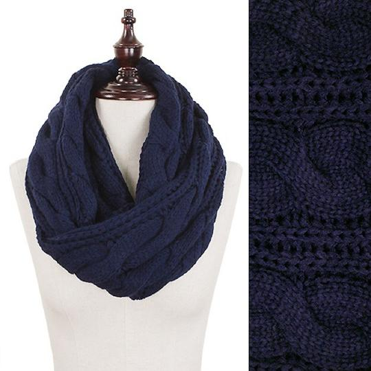 Boutique Chunky Solid Color Cable Knitted Infinity Scarf Image 1