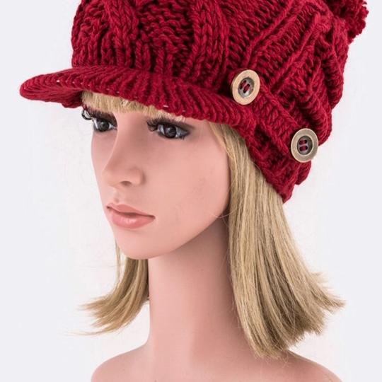 Other Buttons Raised Knit Visor Beanie Image 1