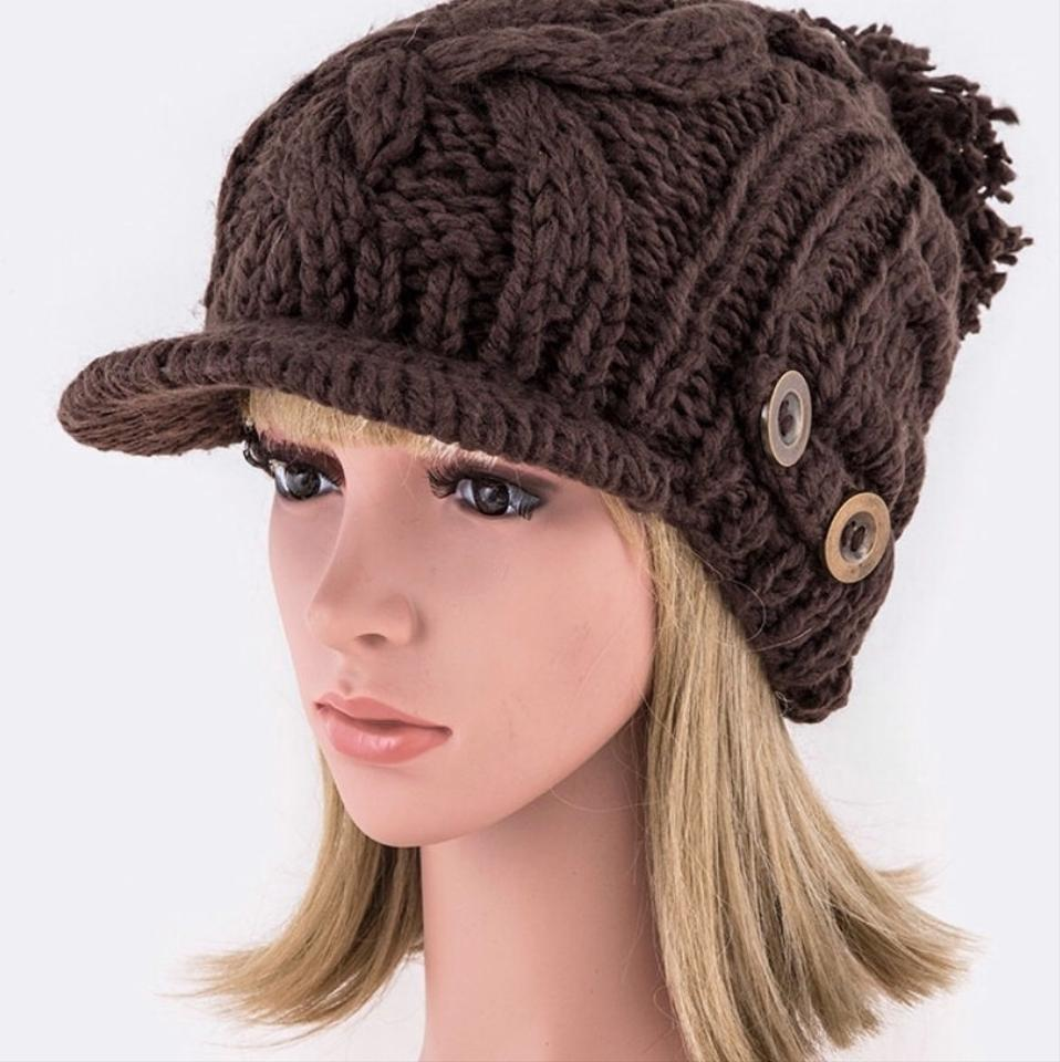 c128590b22f6a Brown Buttons Raised Knit Visor Beanie Hat - Tradesy