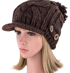 Other Buttons Raised Knit Visor Beanie