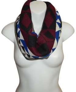 Boutique Geo Pattern Knit Tube Scarf with Faux Fur Lining