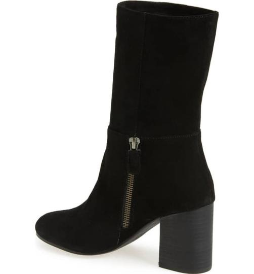 Eileen Fisher Leather Partial Side Zip Minimalist Heel Dress Up Or Down Black Boots Image 1