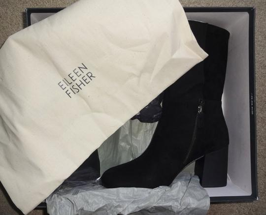 Eileen Fisher Leather Partial Side Zip Minimalist Heel Dress Up Or Down Black Boots Image 4