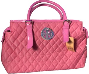 Tory Burch Quilted Patent Leather Tote in Pink