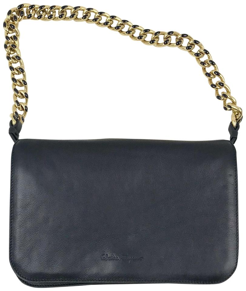 3ba1d605f1 Salvatore Ferragamo Clutch with Chain Black Leather Shoulder Bag ...