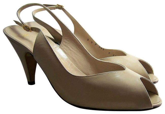 Item - Taupe New All Leather Sling Back Open Toe Heel Pumps Size US 8 Regular (M, B)